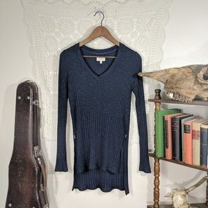 Deletta navy speckled / ribbed high low sweater